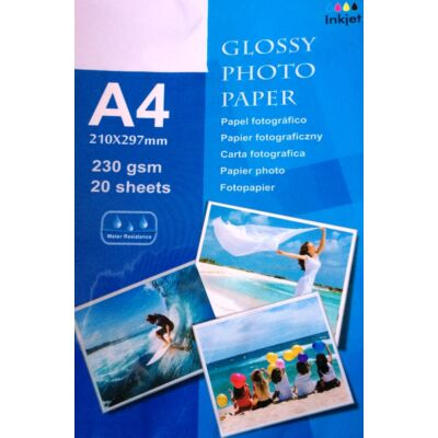 A4 Photo papír Fotópapír fényes 230gsm 20 lap Water resistance